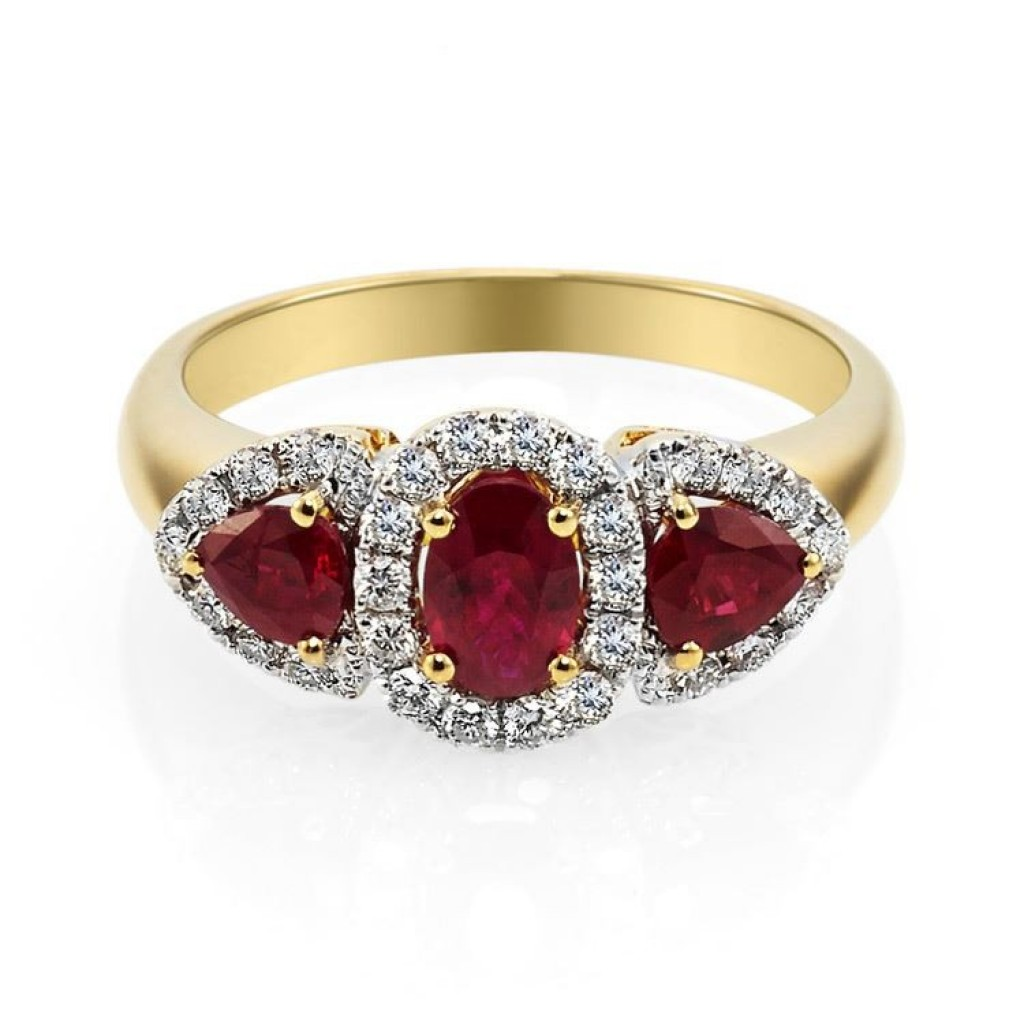 Orange Red Eclipse Diamond Ring