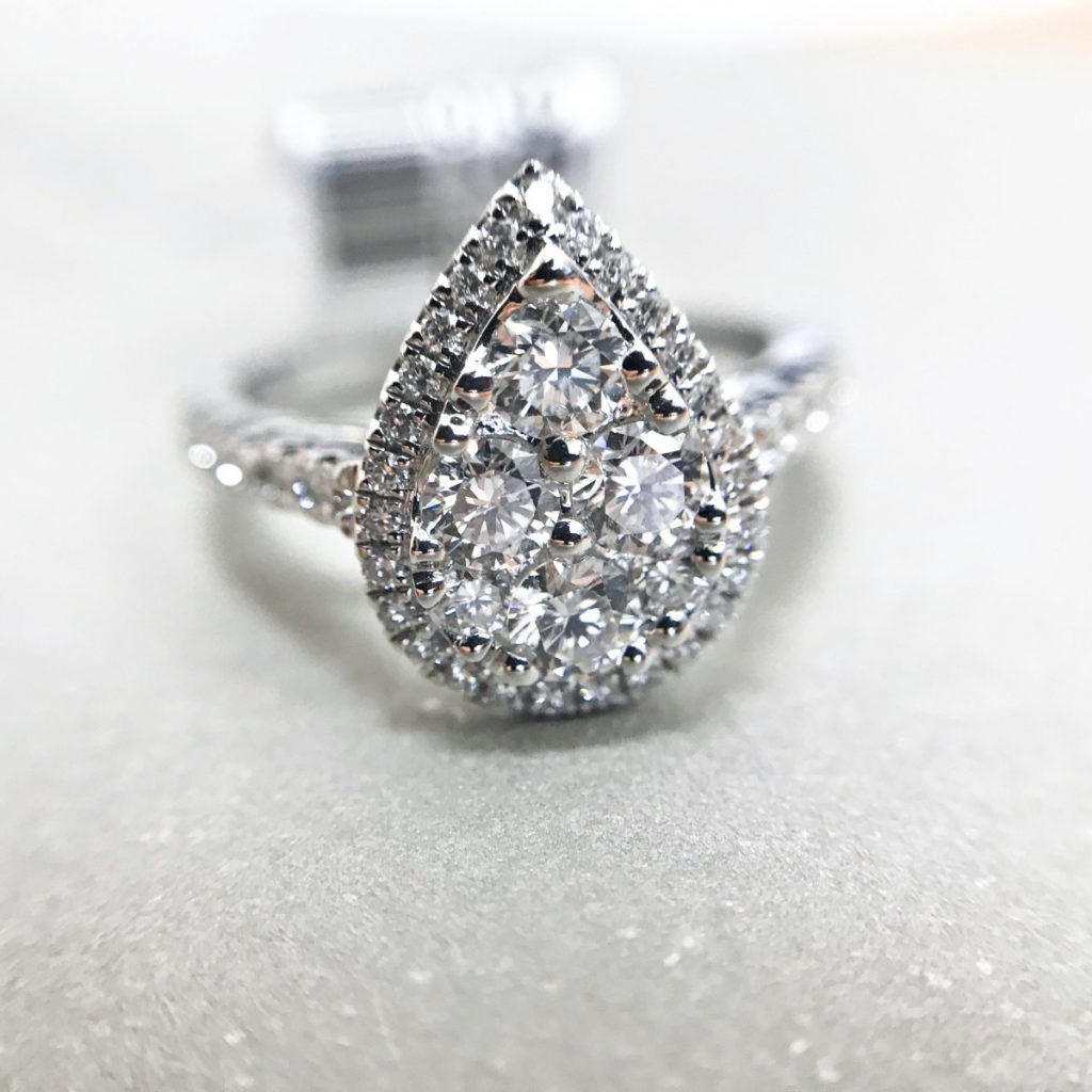 Pear Shaped Illusion Cluster Diamond Ring White Gold 01-05-122