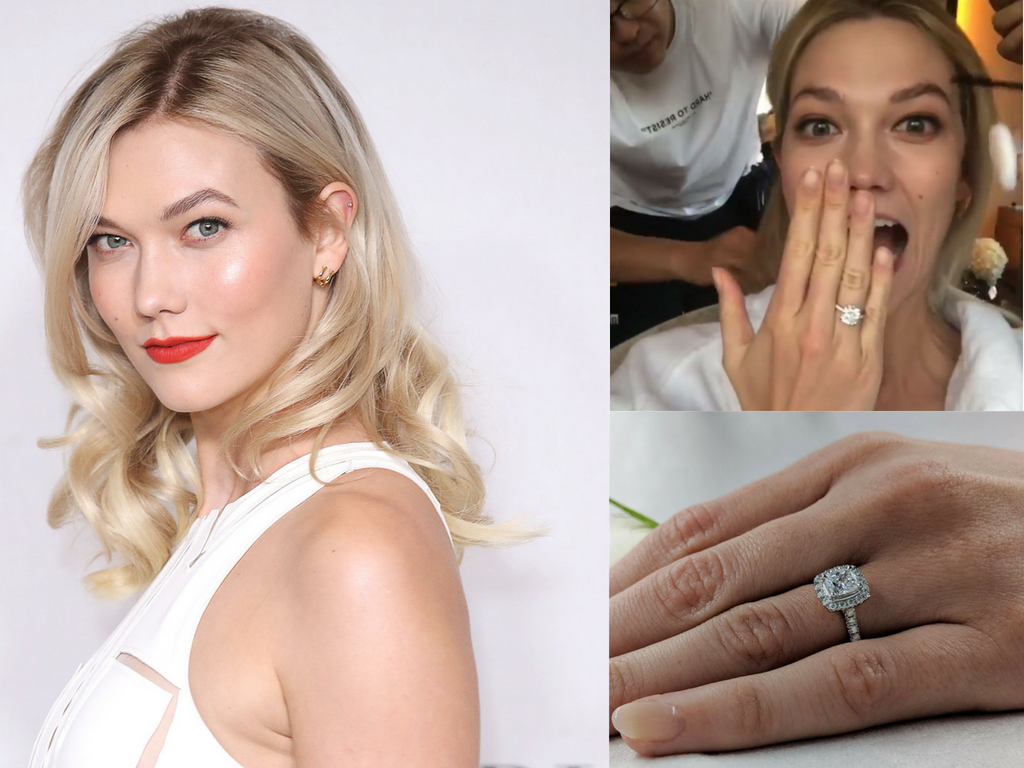 Karlie Kloss Cushion Cut Engagement Ring, Engaged 2018