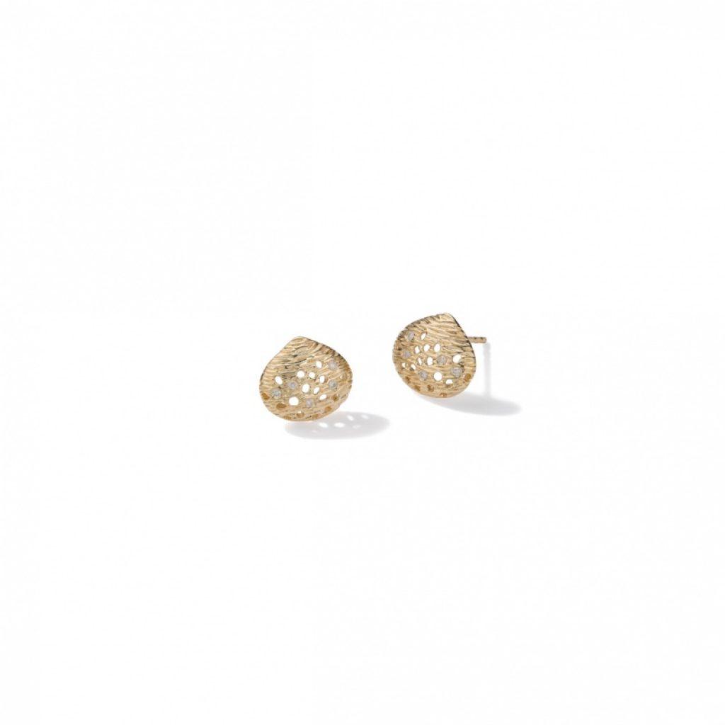 Rachel Galley Cala Shell 18ct Yellow Gold & Diamond Earrings