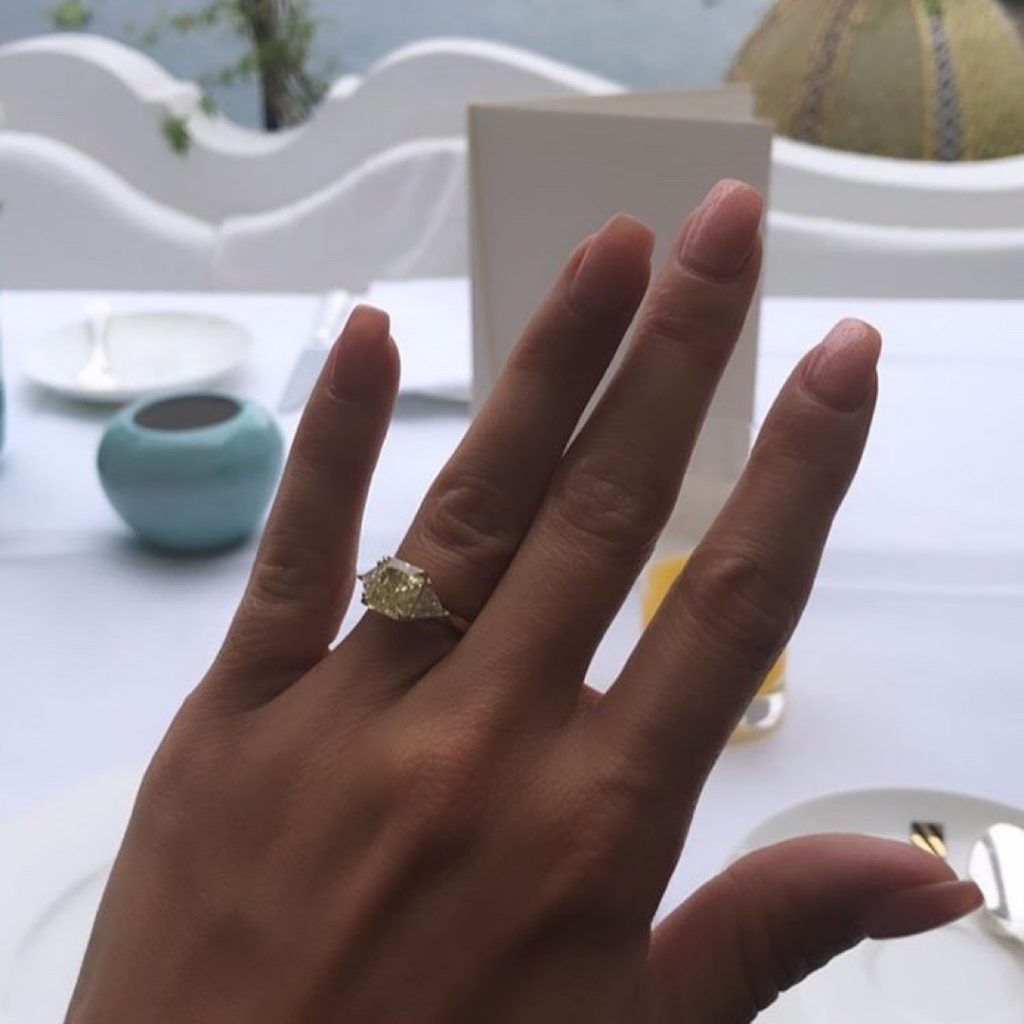 Lucy Mecklenburgh Engagement Ring Yellow Diamond Three Stone Ryan Thomas