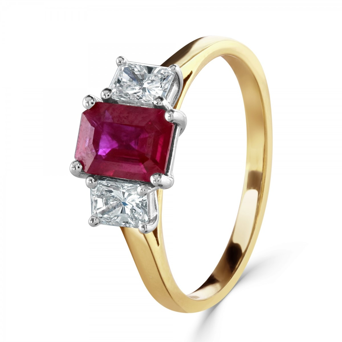 18ct Yellow Gold Emerald Cut Ruby & Diamond Three Stone Ring