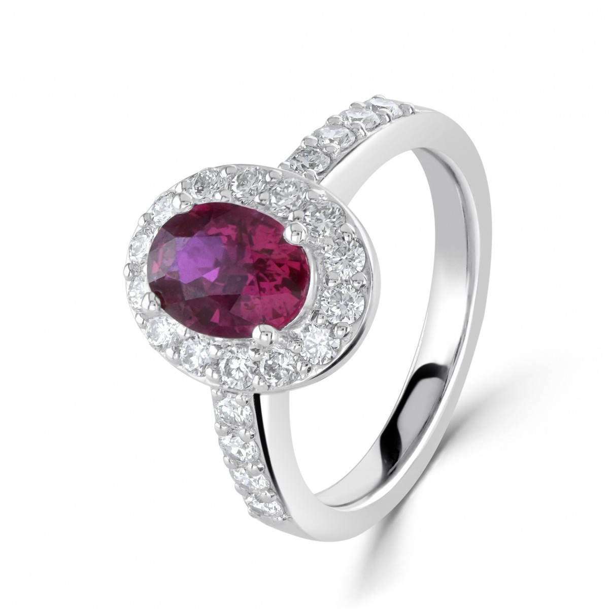 18ct White Gold Rare Pigeon Blood Ruby & Diamond Cluster Ring