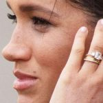 Meghan Markle Bespoke Eternity Ring on hand with Engagement and wedding ring