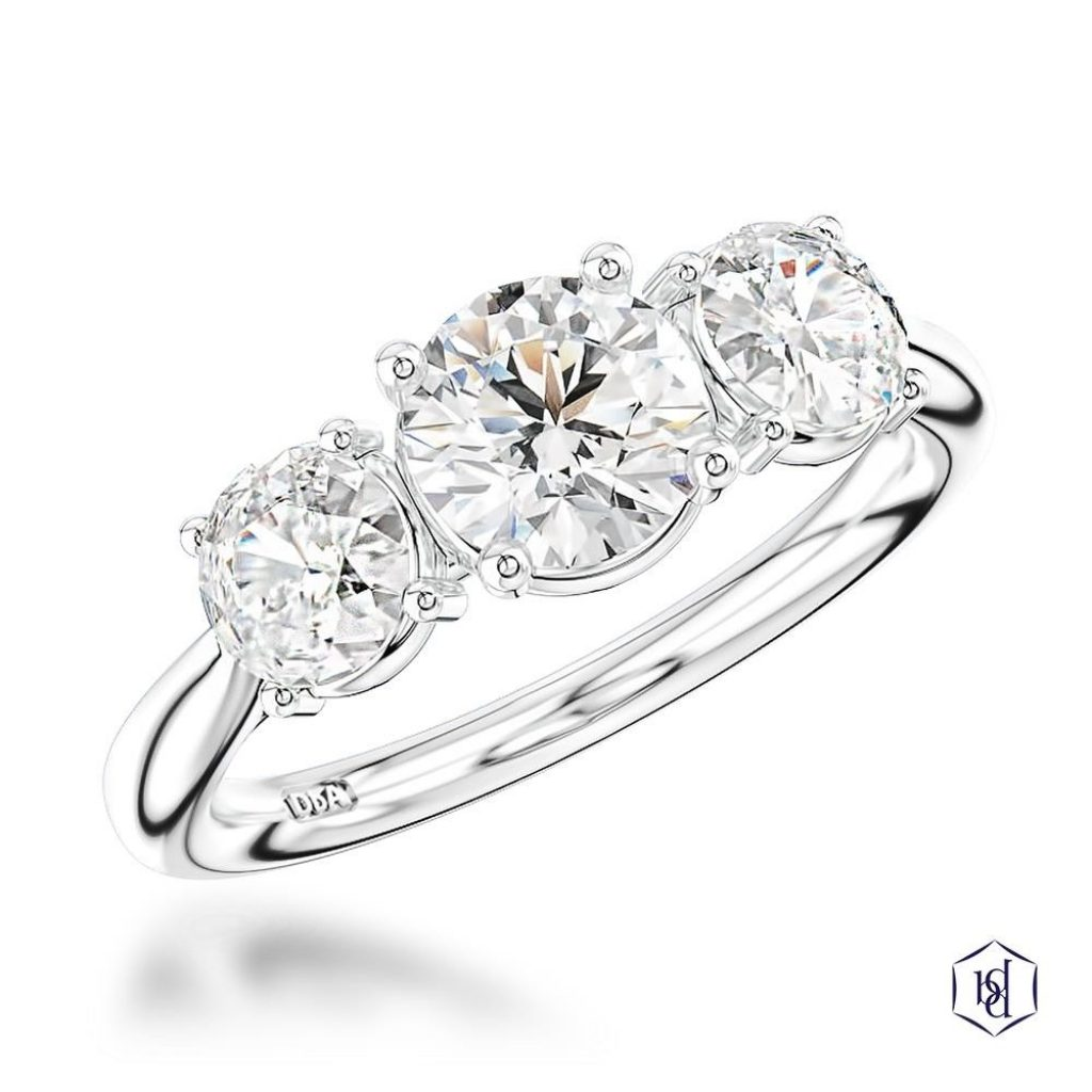 Three Stone Diamond Ring White Gold
