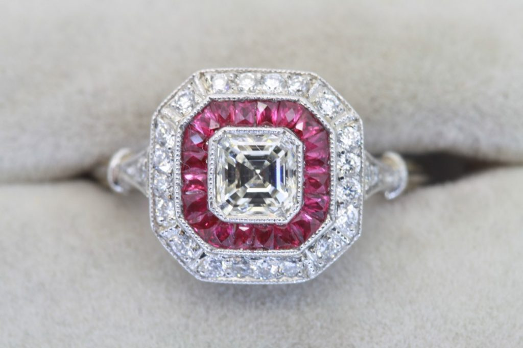 Cressida Bonas Engagement Ring Art Deco Ruby Target Ring - Similar Style
