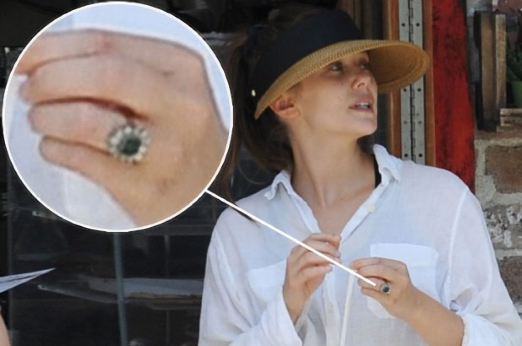 Elizabeth Olsen Engaged - Emerald Engagement Ring