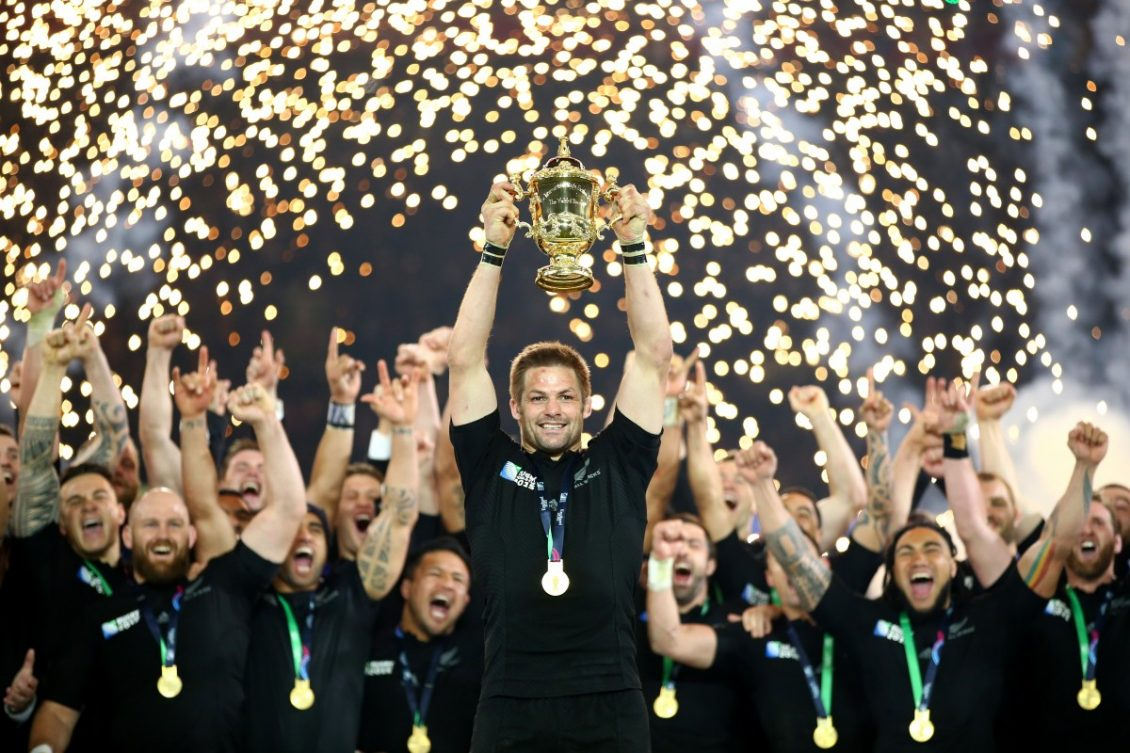 New Zealand All Blacks Win Rugby World Cup with Trophy