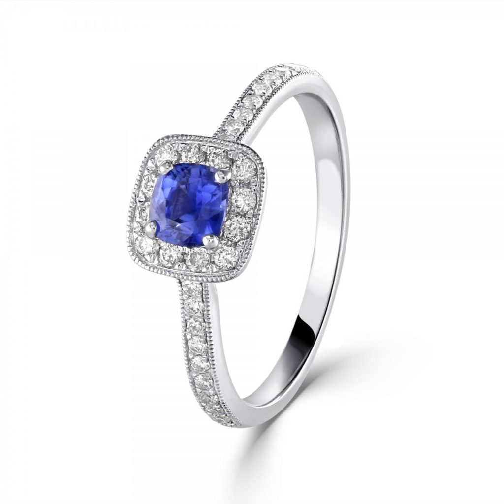 Sapphire & Diamond Cluster Ring - James middleton dupe