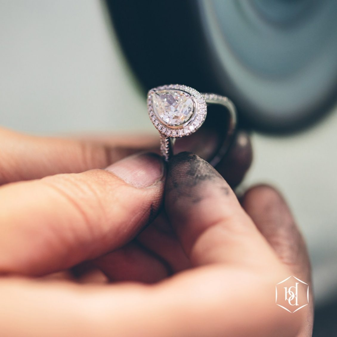 Diamond Pear Cut Ring Being Polished