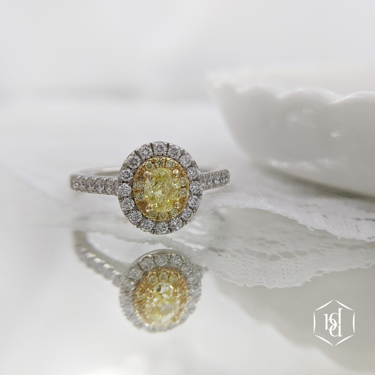 Cushion Cut Yellow Diamond Cluster Engagement Ring