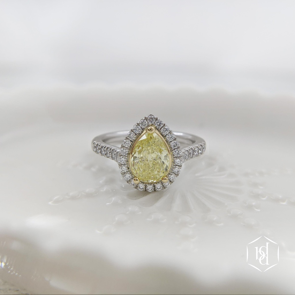 Pear Cut Yellow Diamond Cluster Engagement Ring