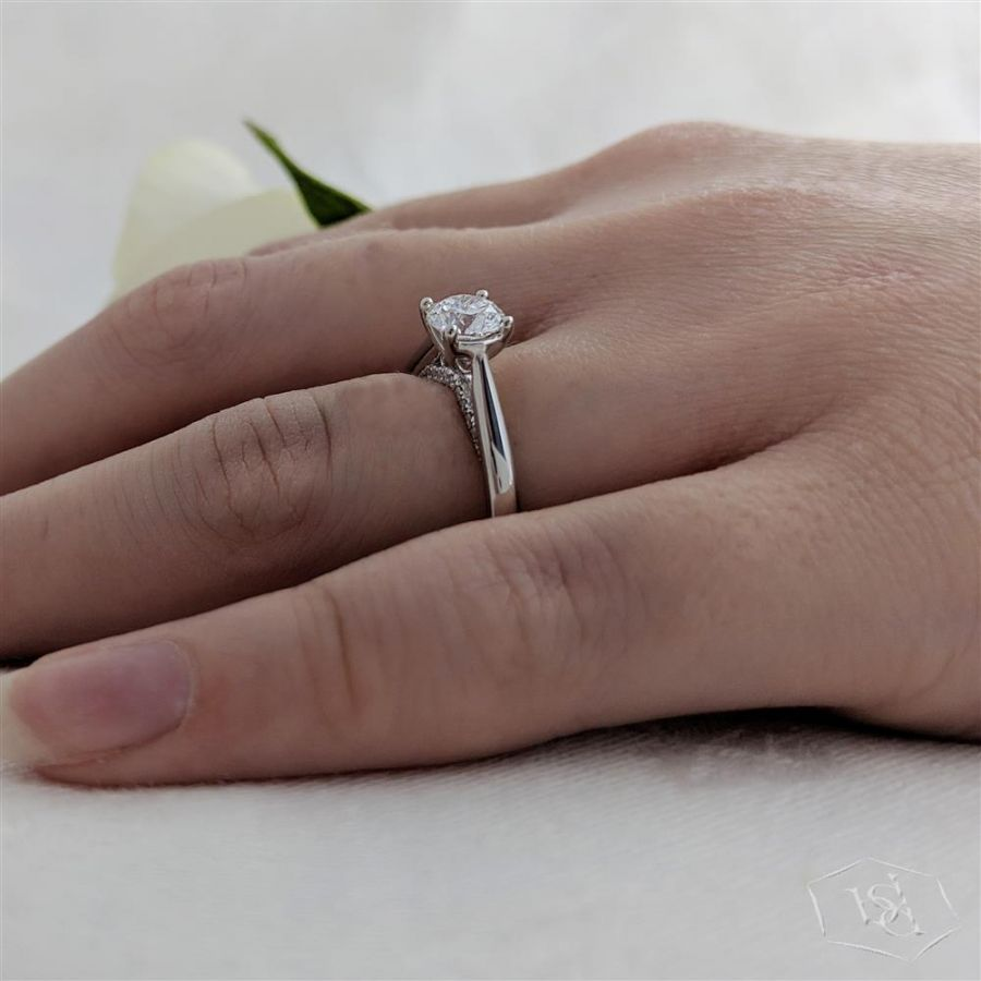 Wakefields Jewellers 'Oxford' Collection Diamond Solitaire on hand