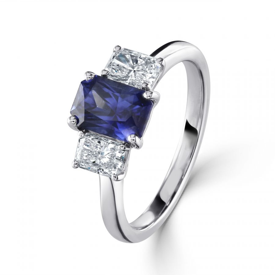 Sapphire & Diamond Three Stone Ring SKU: 0203128