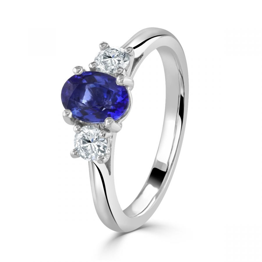 Sapphire & Diamond Three Stone Ring SKU: 0203137
