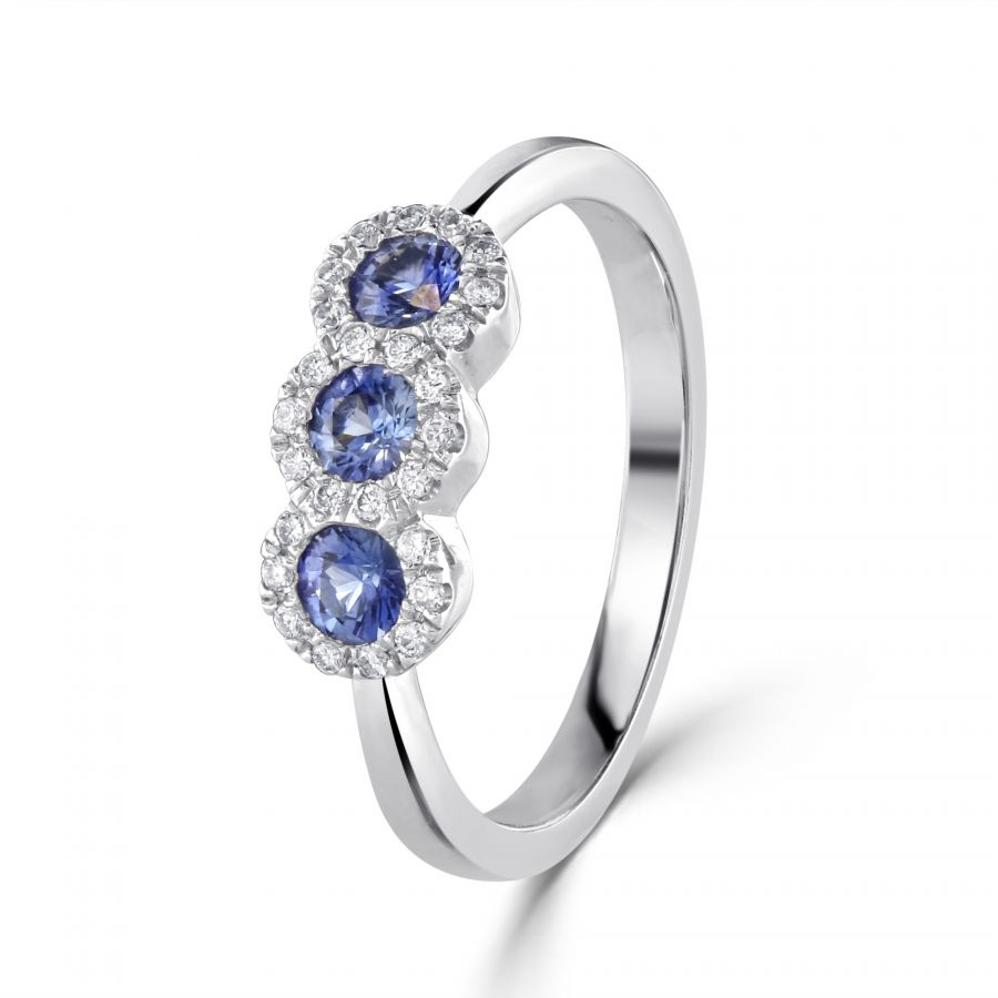 Sapphire Three Stone Diamond Cluster Ring SKU: 0205069