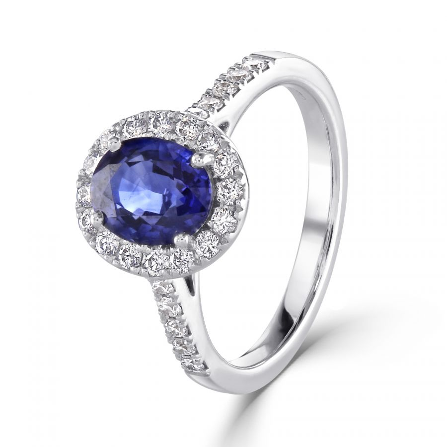 Blue Sapphire & Diamond Oval Cluster Ring SKU: 0205086