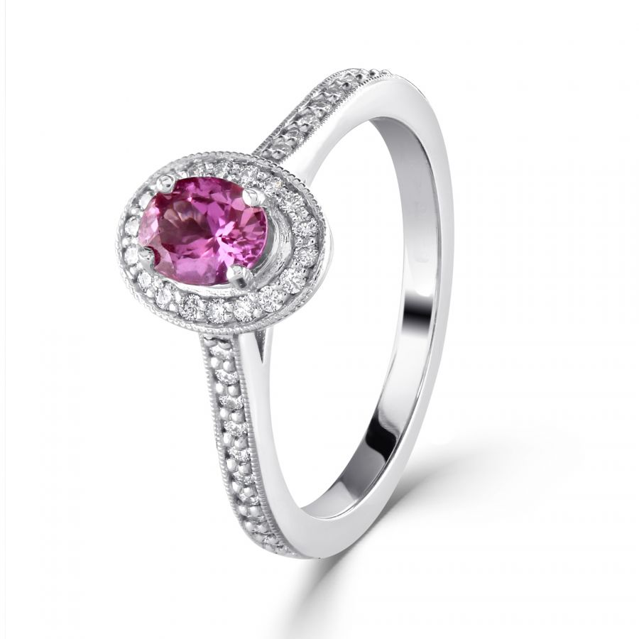 Pink Sapphire & Diamond Oval Cut Cluster Ring SKU: 0205090