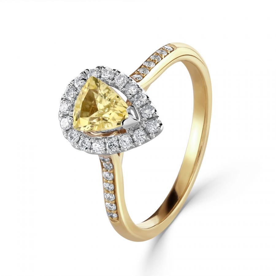 Yellow Sapphire & Diamond Cluster Ring SKU: 0207016