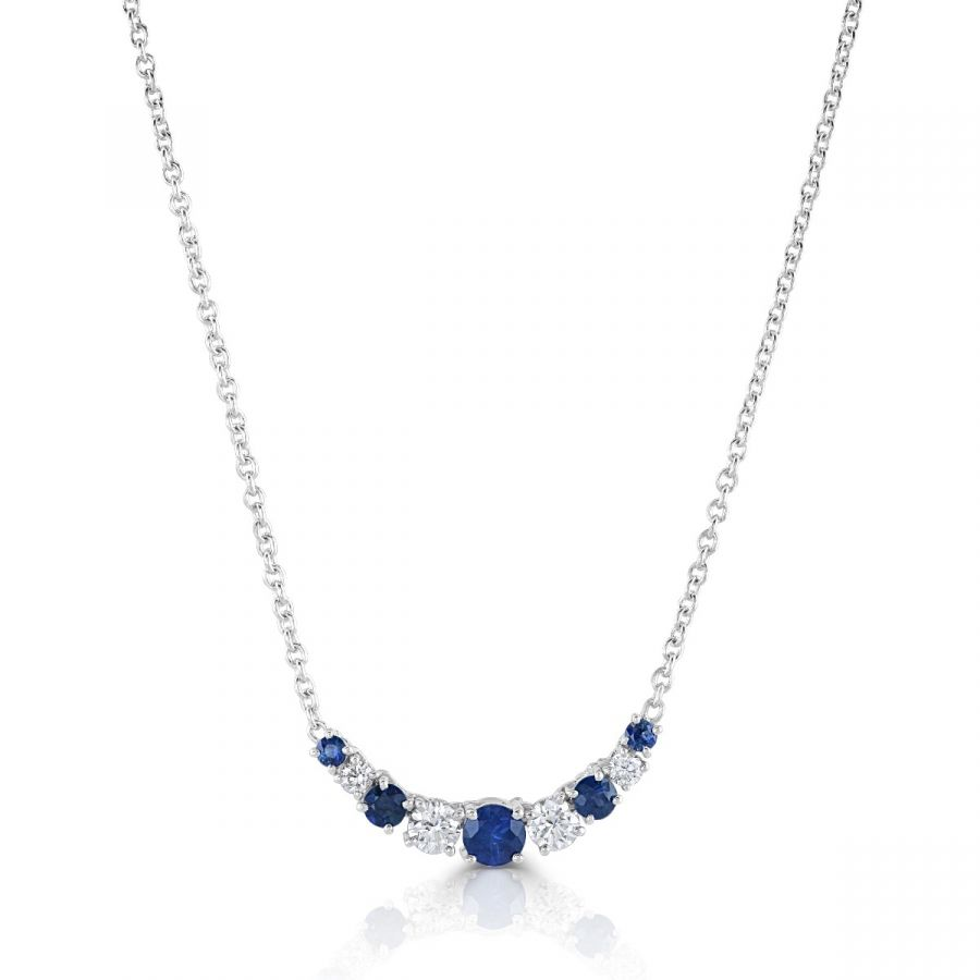 Sapphire & Diamond Crescent Necklace SKU:1122018