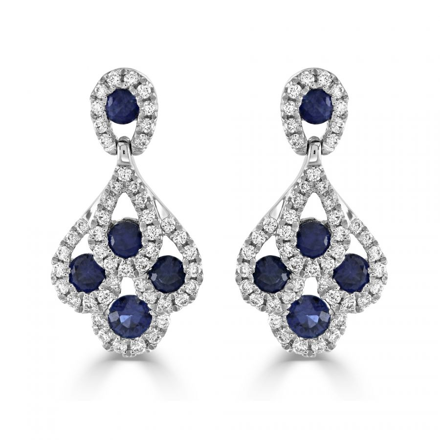 Sapphire & Diamond Cluster Earrings SKU: 1322258