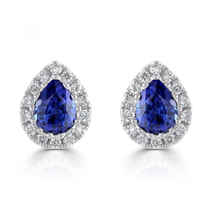 Sapphire & Diamond Pear Cut Cluster Earrings SKU: 1322283