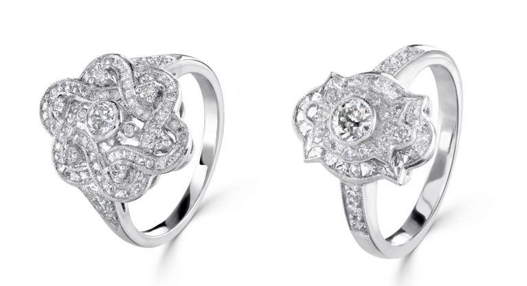 Vintage inspired Binky Felstead fancy diamond rings at Wakefields