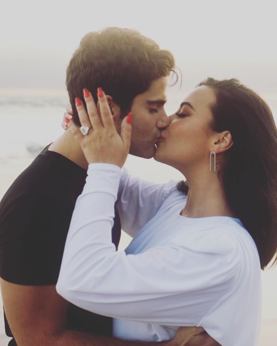 Demi Lovato and Max Ehrich Beachside Proposal